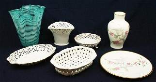 MIXED LOT CHINA GLASSWARE PORCELAIN VASES & MORE