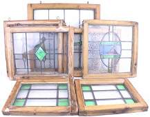 LOT OF 7 ENGLISH STAINED AND LEADED GLASS