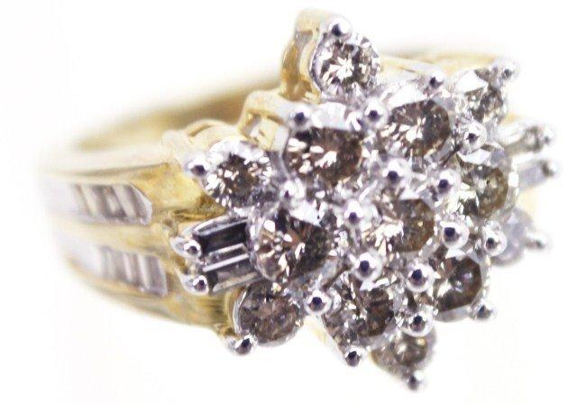 LADIES 10K GOLD CHAMPAGNE DIAMOND COCKTAIL RING