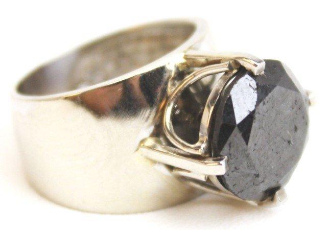 LADIES 14K GOLD SOLITAIRE 7 CT BLACK DIAMOND RING