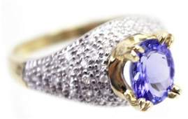 LADIES 14K GOLD TANZANITE  DIAMOND COCKTAIL RING