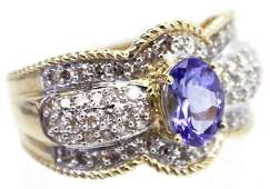 LADIES 14K GOLD TANZANITE  DIAMOND CLUSTER RING
