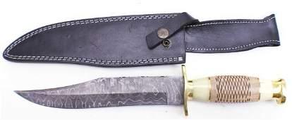 "14.25"" CUSTOM MADE WOOD & HORN HANDLE BOWIE KNIFE"