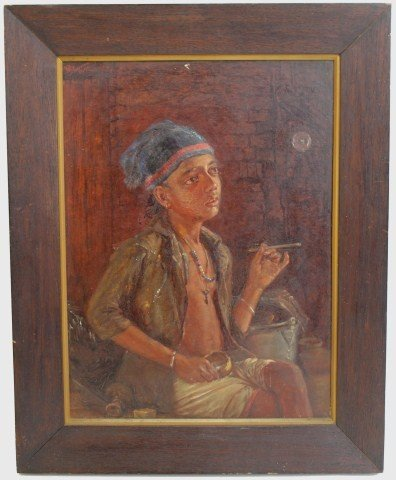OIL ON BOARD PAINTING OF A BOY SMOKING A CIGAR