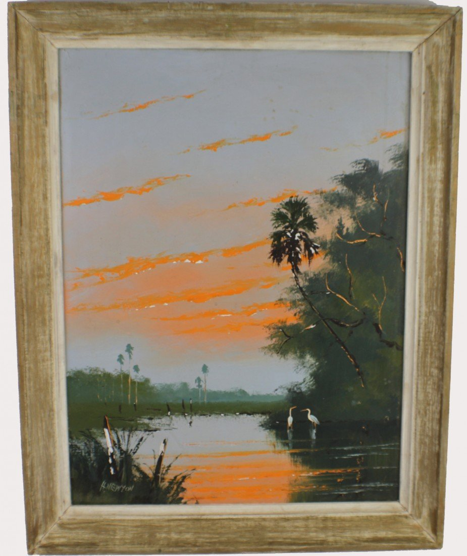 HAROLD NEWTON - HIGHWAYMEN PAINTING FLORIDA LANDSCAPE