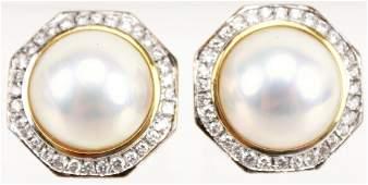 LADIES 18K MABE PEARL  DIAMOND EARRINGS