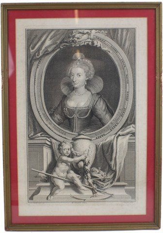 JACOBUS HOUBRAKEN ENGRAVING - QUEEN ANNE JAMES