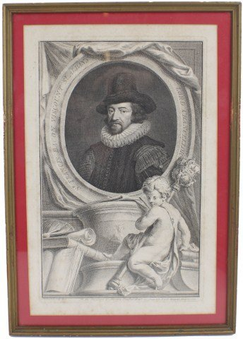 JACOBUS HOUBRAKEN ENGRAVING - FRANCIS BACON