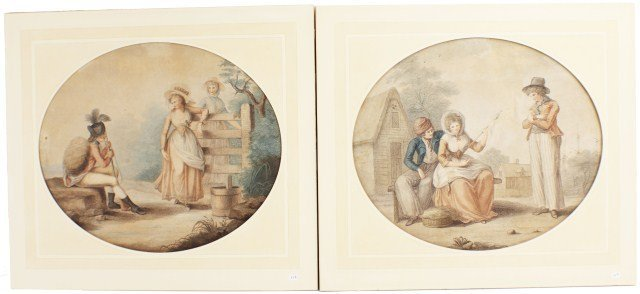 PAIR OF STIPPLE ENGRAVINGS BY CHARLES KNIGHT