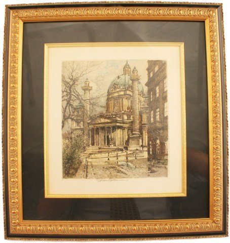 RAOUL KASIMIR - FRAMED ETCHING - ITALIAN CHURCH