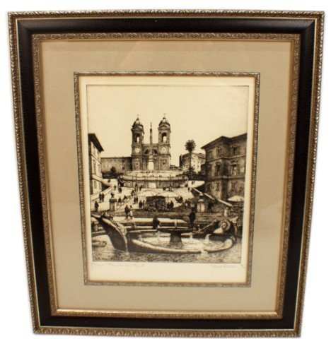 SIGNED G. B. MIRRI ETCHING - SPANISH STEPS ROME