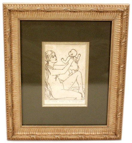 CAROLYN ARENT - ETCHING - MOTHER AND CHILD STATE I