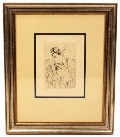 RENOIR FRAMED ETCHING - STANDING BATHER