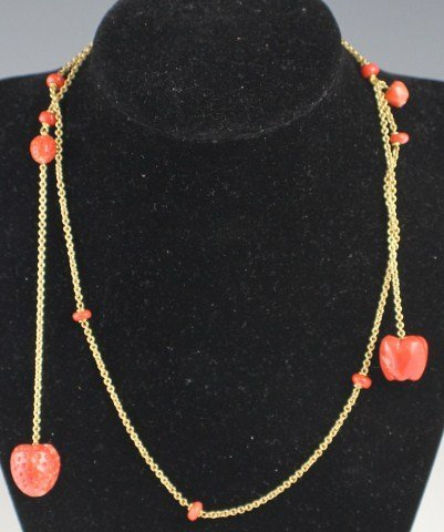18K YELLOW GOLD AND RED CORAL NECKLACE