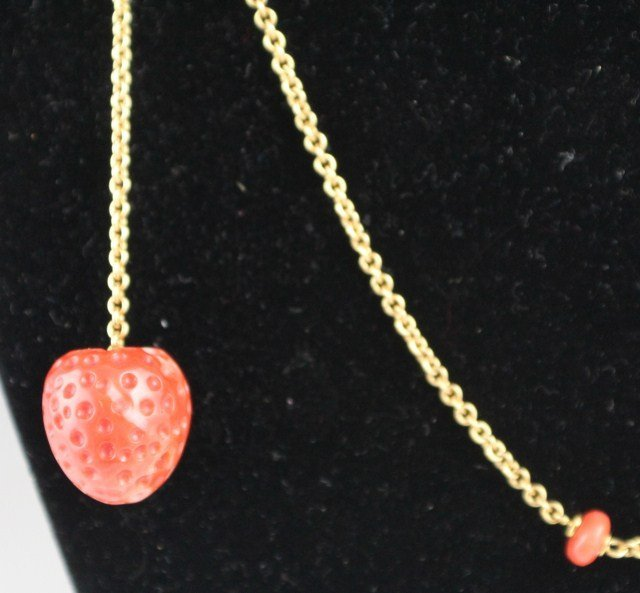 18K YELLOW GOLD AND RED CORAL NECKLACE - 2