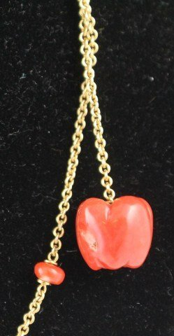 18K YELLOW GOLD AND RED CORAL NECKLACE - 3