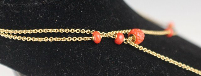 18K YELLOW GOLD AND RED CORAL NECKLACE - 4