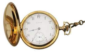 14K GOLD ELGIN HUNTERS CASE POCKET WATCH