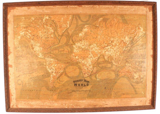 ATLAS SCHOOL SUPPLY RELIEF MAP OF THE WORLD