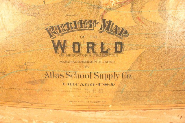 ATLAS SCHOOL SUPPLY RELIEF MAP OF THE WORLD - 3