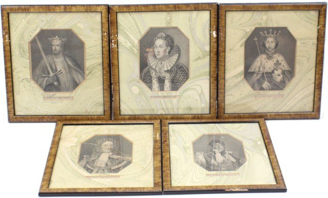 LOT OF FIVE FRAMED ENGRAVINGS OF ENGLISH ROYALTY