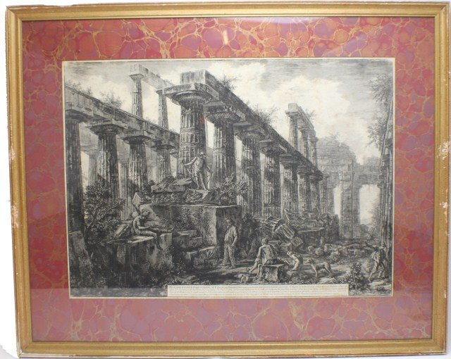 PIRANESI ENGRAVING TEMPLE OF NEPTUNE 1778