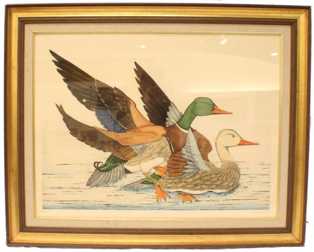 DAN MITRA-HAND COLORED ETCHING MALLARDS SIGNED AP