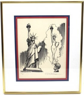 SIGNED PAUL CONRAD JIMMY CARTER POLITICAL CARTOON