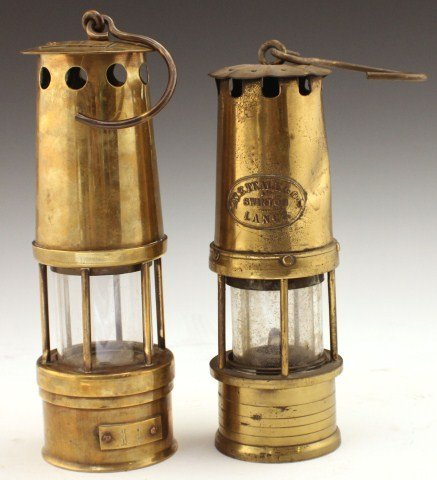 TWO ENGLISH MINERS LAMPS