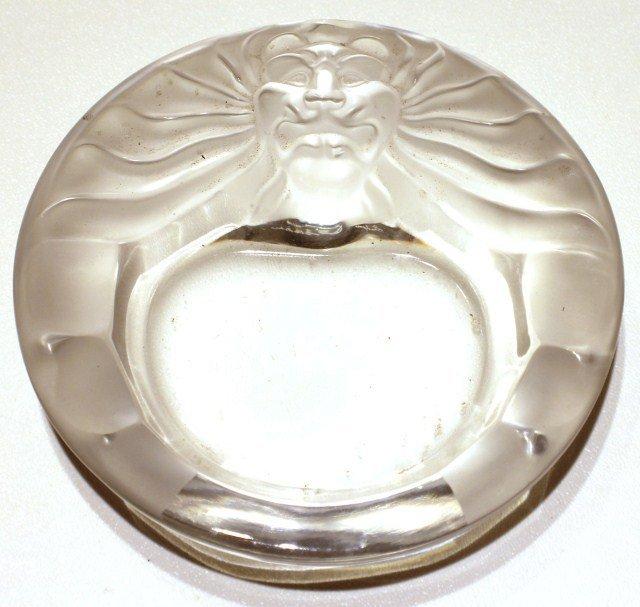 LALIQUE LIONS HEAD GLASS DISH