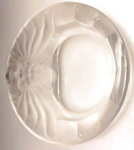 LALIQUE LIONS HEAD GLASS DISH - 4