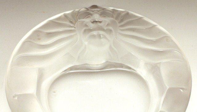LALIQUE LIONS HEAD GLASS DISH - 6