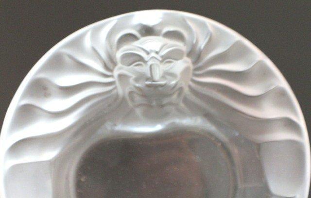 LALIQUE LIONS HEAD GLASS DISH - 7