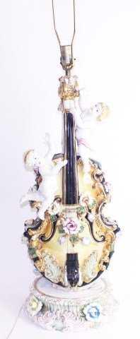 Large Porcelain Violin And Cherub Lamp