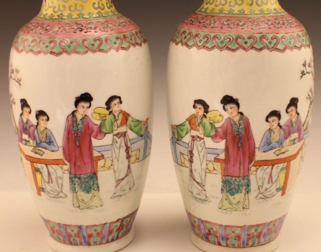 PAIR OF 20TH CENTURY CHINESE PORCELAIN VASES - 2
