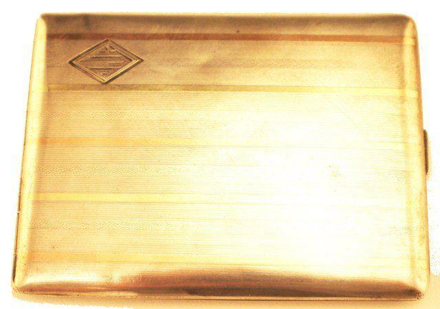 14K GOLD INLAID STERLING SILVER CIGARETTE CASE