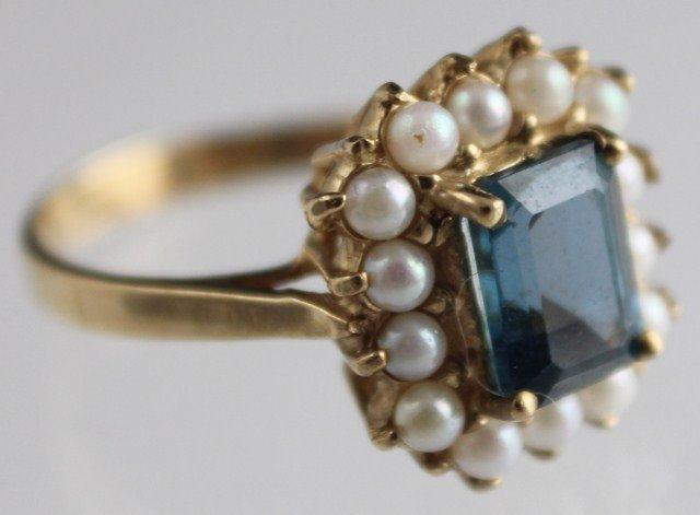 LADIES ANTIQUE 10K GOLD BLUE AQUAMARINE PEARL RING