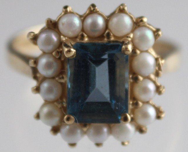 LADIES ANTIQUE 10K GOLD BLUE AQUAMARINE PEARL RING - 2
