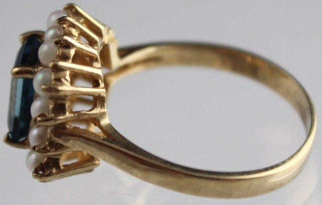 LADIES ANTIQUE 10K GOLD BLUE AQUAMARINE PEARL RING - 3