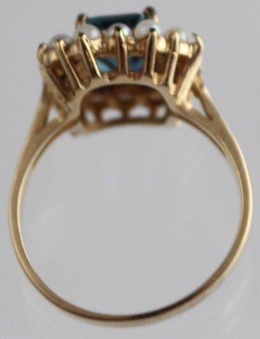 LADIES ANTIQUE 10K GOLD BLUE AQUAMARINE PEARL RING - 4