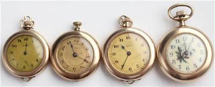 LOT OF FOUR LADIES GOLD FILLED POCKET WATCHES