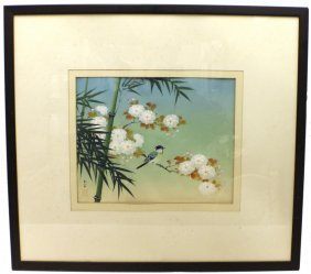 CHINESE SILK PAINTING - BIRD W/ PEONIES & BAMBOO