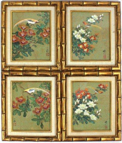 FOUR FRAMED ASIAN BIRD PRINTS