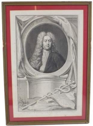 JACOBUS HOUBRAKEN ENGRAVING - WILLIAM WYNDHAM