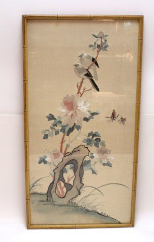 JAPANESE SILK EMBROIDERY BIRDS AND FLOWERS