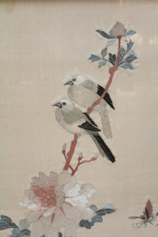 JAPANESE SILK EMBROIDERY BIRDS AND FLOWERS - 2