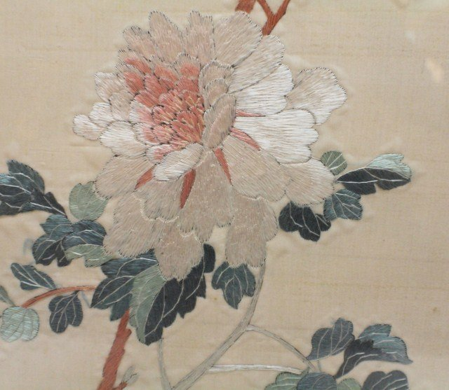 JAPANESE SILK EMBROIDERY BIRDS AND FLOWERS - 3