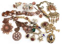VINTAGE COPPER/GOLD COSTUME JEWELRY 17 PIECES