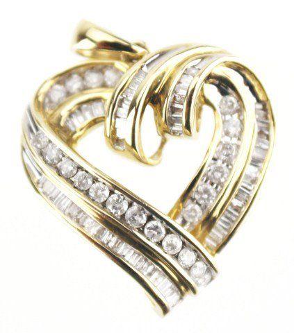 10K GOLD DIAMOND HEART FASHION PENDANT 0.6 CTW