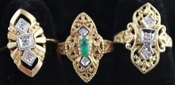 THREE 10K YELLOW GOLD ART DECO STYLE DIAMOND RINGS